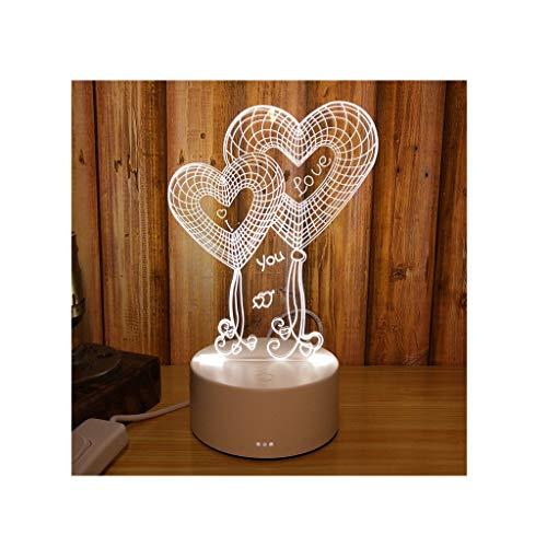 Panier à linge Type de Plug-in de Protection de l'environnement de lumière de Nuit 3D Matériau de Transmission élevé ABS de l'affichage 3D ZHJING (Size : Heart Shape)
