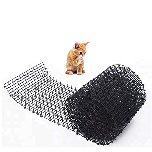 Cat Scat Mat, Cats Spikes Repellent Deterrent, Defenders Prickle Strip Dig Stopper, Anti Bird, Pigeons, Crows, Seagulls, Dogs Cats Protects Plants in Gardens(Black)