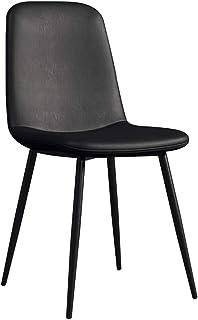 LSRRYD Sillas De Comedor Moderno Sillas De Cocina Asiento Acolchado Cómodo De Cuero PU con Sturdy Metal Legs Office Home Silla Taburete (Color : Black)