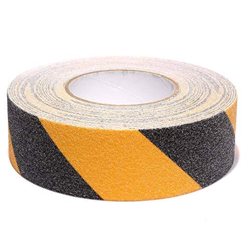 Cinta de seguridad negra amarilla, antideslizante, adhesiva, para escalones, pisos, paredes o interiores de alta tracción, 5 cm x 5 m