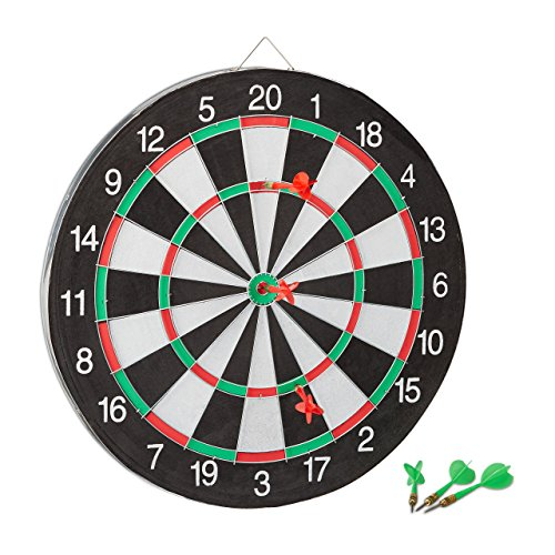 Relaxdays Dartscheibe X2 mit Pfeilen, 43 cm, 6 x Pfeile, zweiseitig, Steeldarts, Dartboard klassisch, schwarz-weiß