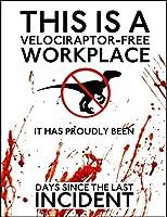 Warning Velociraptor ティンサイン ポスター ン サイン プレート ブリキ看板 ホーム バーために
