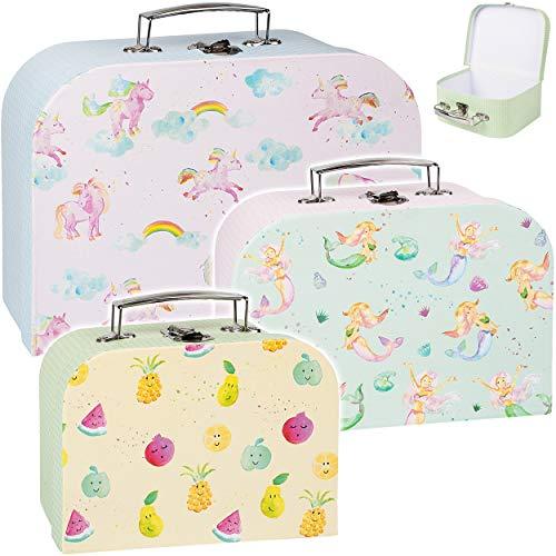 3 Stück _ Koffer / Kinderkoffer - in 3 verschiedenen Größen - Einhörner & Meerjungfrau & Obst - Kofferset - Kofferset - ideal für Spielzeug und als Geldgesche..