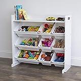 Humble Crew Toy Storage Organizer with Shelf and 9 Storage Bins, White