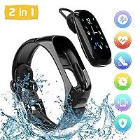 ♪♪ Auricolare Bluetooth Tracker fitness .2-IN-1 - Non è solo un braccialetto intelligente per registrare accuratamente le attività di tutto il giorno come frequenza cardiaca, stato del sonno, passi, distanza, calorie bruciate, pressione sanguigna, ec...