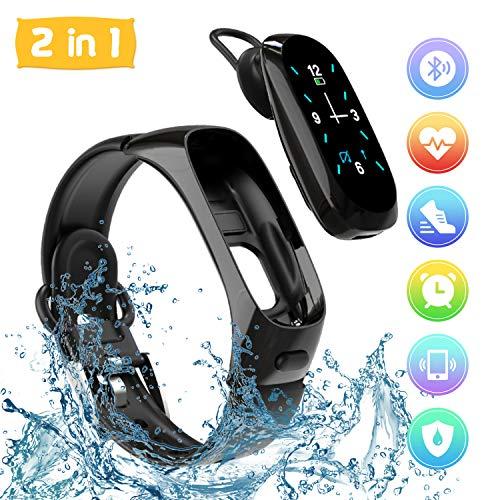 HebyTinco Pulsera de Actividad Auriculares Bluetooth 2 en 1, Pulsera Inteligente de Fitness Impermeable IP67 Reloj Deportivo con Podómetro Calorías Sueño Notificación para Hombre Mujer Niños