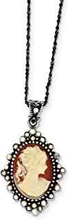 Mia Diamonds 925 Sterling Silver Solid Resin Cameo with crystal Pendant On 16in Necklace Chain -16