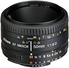 Nikon AF FX NIKKOR 50mm f/1.8D Lens with Auto Focus for...