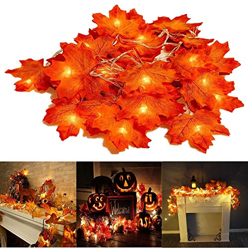 Thanksgiving Decorations Lighted Fall Garland, 30 LED Maple Leaf String Lights, Battery Powered Harvest Fall Garlands String Light, Perfect Decoration for Autumn Halloween Christmas (Warm White)