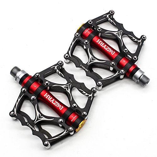 Willyn Ultra light 3 Abgedichtetes Lager Trekking Rennrad Fahrrad Pedale Fahrradpedale Anti-Rutschpedale JT40&52 (Schwarz mit Rot)