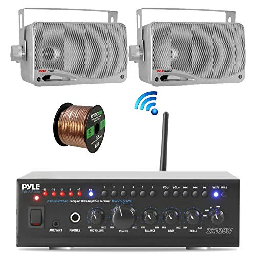 Affordable Pyle Home WiFi Bluetooth Audio Amplifier Receiver, Pair 3.5 200W 3-Way Weatherproof Mini...