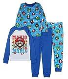 SUPER MARIO Boys' Four Piece Pajama Set (10, Multi L/S)