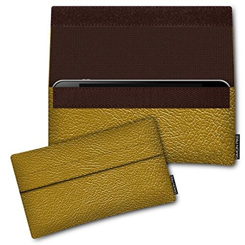SIMON PIKE Hülle Tasche kompatibel mit Huawei P40 lite | Schutztasche Newyork in 02 Gold aus Kunstleder Handyhülle