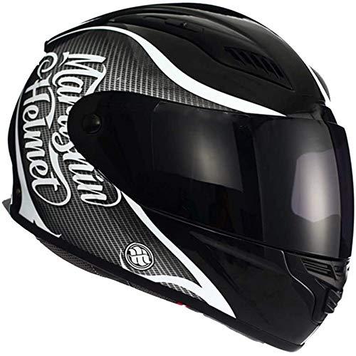 ZHXH Motorradhelm Vollgesicht - Abnehmbarer Unisex Flip Four Season Helm für Erwachsene kann mit Kopfhörern installiert werden, Dot/Ece-Zertifizierung,
