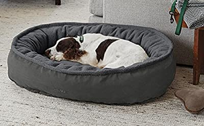Orvis Comfortfill-eco Wraparound Dog Bed with Fleece/Large Dogs 60-90 Lbs, Gunmetal, Large