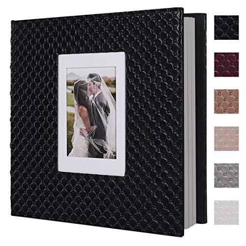 RECUTMS Álbum de fotos de 60 páginas hecho a mano DIY 10x15 13x18 20x25 fotos de cualquier tamaño, botón de cuero granulado cubierta de boda álbum de fotos de bebé (negro)