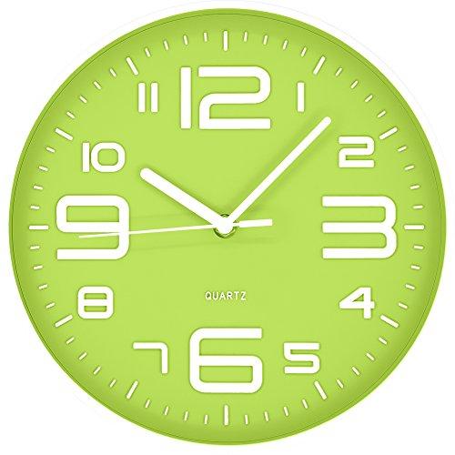 Postershop ZH09762C Reloj de Pared, Verde, 25 x 25 x 4 cm