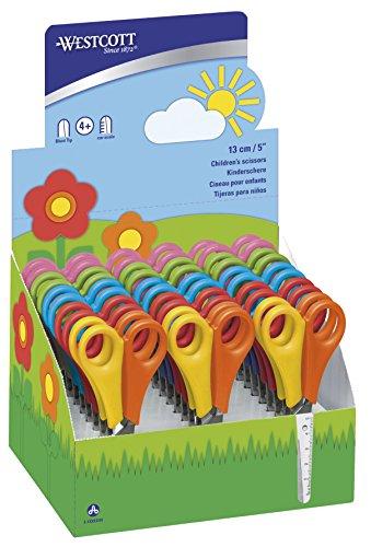 Westcott E-2150S Forbici per bambino per destrimano e mancini, 13 cm, punte arrotondate, 30 pezzi, scala 5 cm