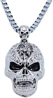 JczR.Y Vintage Skull Pendant Necklace Stainless Steel Gothic Skeleton Necklace for Men Women Punk Jewelry Gift