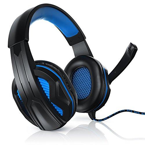 CSL - USB Auriculares con micrófono para Gaming - USB 2.0 High Speed - Mando a Distancia con Cable Control de Medios - para Jugar Escuchar música chatear telefonear