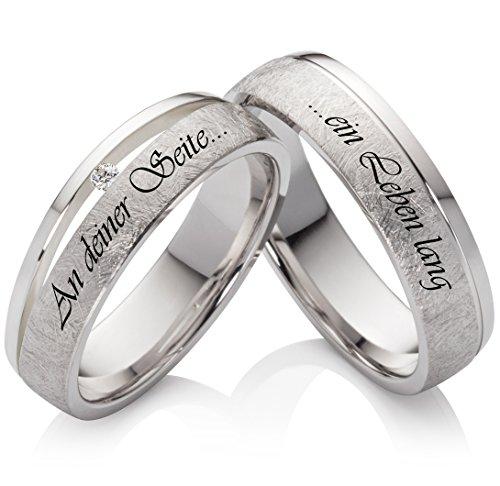 Eheringe Verlobungsringe Trauringe aus 925 Silber mit Zirkonia und kostenloser Lasergravur SLZ43