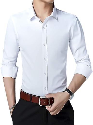 Camisa para Hombre de Manga Larga sin Planchado, fácil Ajuste, sin Planchado, Informal