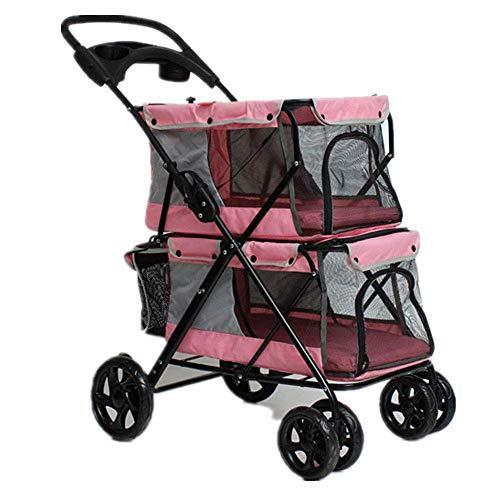 Dog Trolley Pet Kinderwagen, Leichter Faltbarer Doppel-Pet-Kinderwagen Vierrädriger Außenreisensofa Kindersitz , Für Gewicht 2-30KG Pet (Farbe : Pink)
