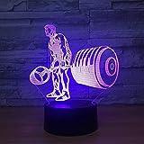 3D Illusionslampe Weihnachtsgeschenk Nachtlicht Nachttischlampe Hantel Lift 7 Farben Touch Switch -...