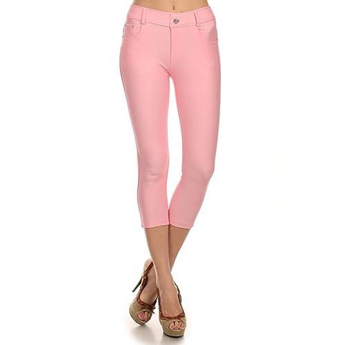 Women/'s Capri Jeggings Cropped Colorful Denim Jean Stretchy Pants