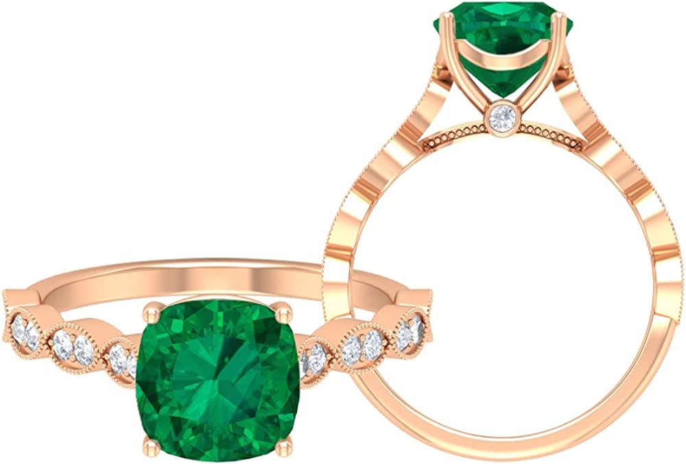 Rosec Jewels - 8 MM Cushion Cut Green Tourmaline Solitaire Ring with Moissanite Side Stones, Gold Engagement Ring (AAA Quality), 14K Gold
