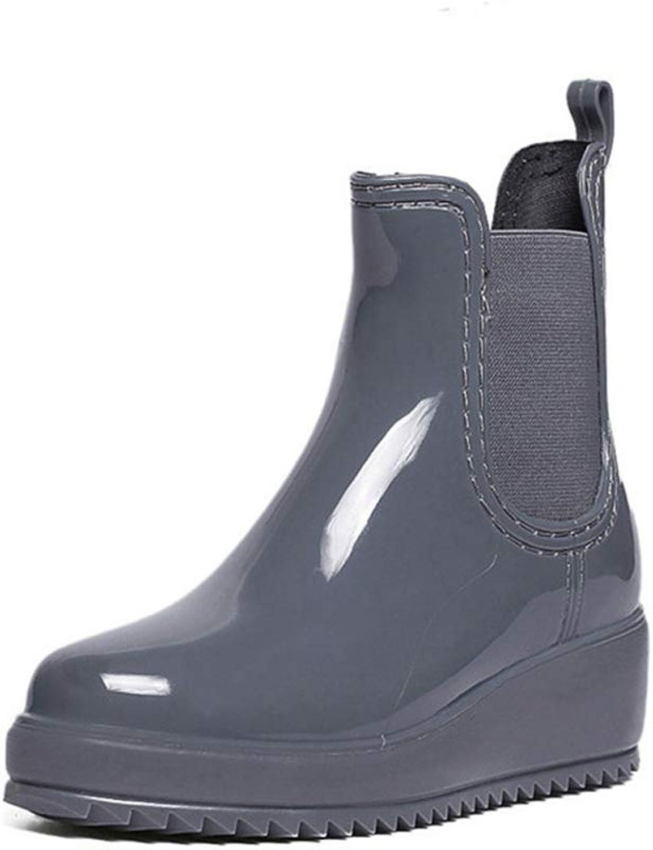 Woman Ankle Boots Waterproof Wedge Low Heel Rubber Anti-Skid Platform Round Toe Antislip Female Rain Boots