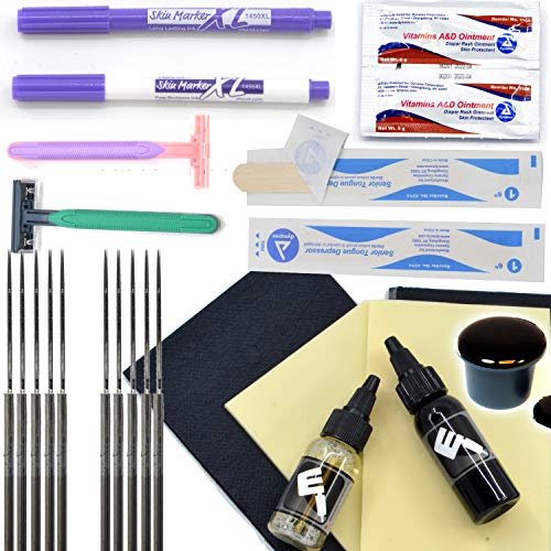 Element Tattoo Supply Hand Poke and Stick Tattoo Kit DIY Needles Sterile Razors Ink Caps Cups Needles Soap Bibs Practice Skin Scribe Markers