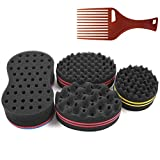 Big Holes Magic Barber Sponge Brush Twist Hair For Wave,Small Wave Big Wave,4 Different Styles Dreadlock,Coils,Afro Curl As Hair Care Tool Men and Women Curl Hair Sponge(4PCS)