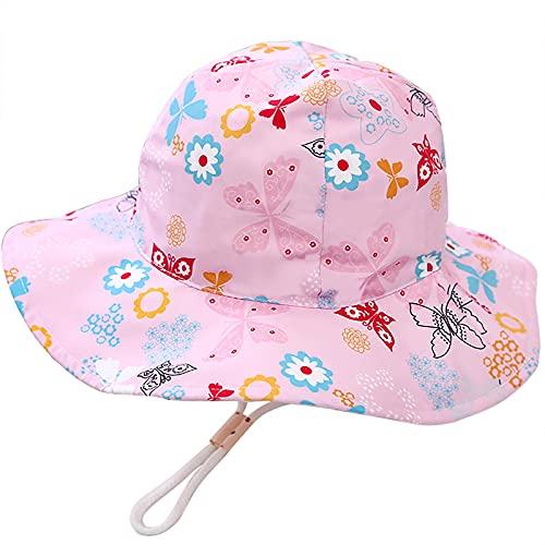 Malaxlx Unisex Kleinkind Sonnenhut Schmetterling Rosa Fischerhut Baby Sommerhut für 12-24 Monate Mädchen Jungen