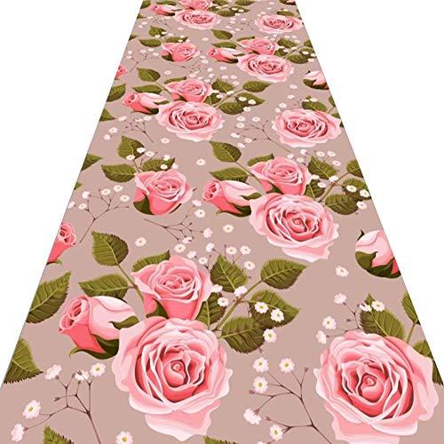 ZRUYI Tappeti Runner Tappeto Passatoia Corridoio Carpet 3D Fiori Rosa Design Domestico Molto Lungo Spessore 6mm, Taglia Personalizzabile (Color : A, Size : 0.6x4m)