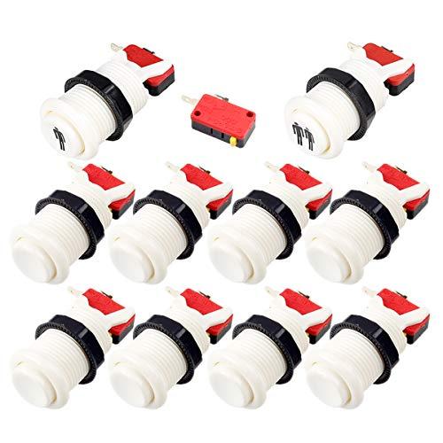 EG STARTS Arcade Botones 8x América del tipo estándar Botones pulsadores + One & Two jugador inicial Happ botones con micro interruptor Para las piezas de la máquina Arcade Jamma Juegos Mame (Blanco)