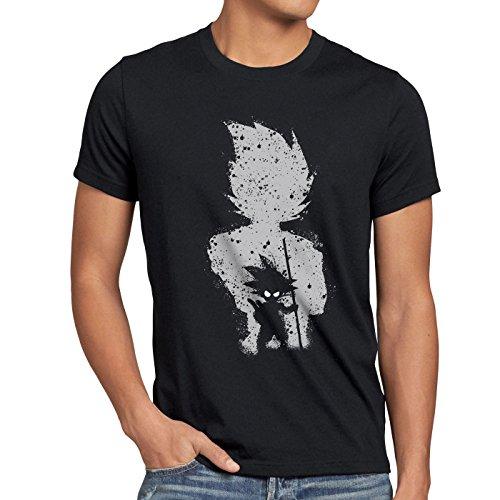 style3 Goku Evolution Herren T-Shirt Dragon Son Ball Balls, Größe:L;Farbe:Schwarz