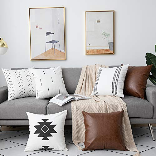 DEZENE Decorative Throw Pillow Covers: Set of 6 Modern Boho Square Cotton and Faux Leather Pillow Cases for Home Decor Living Room Farmhouse Sofa Couch, 18 x 18 Inch, White/Black/Brown
