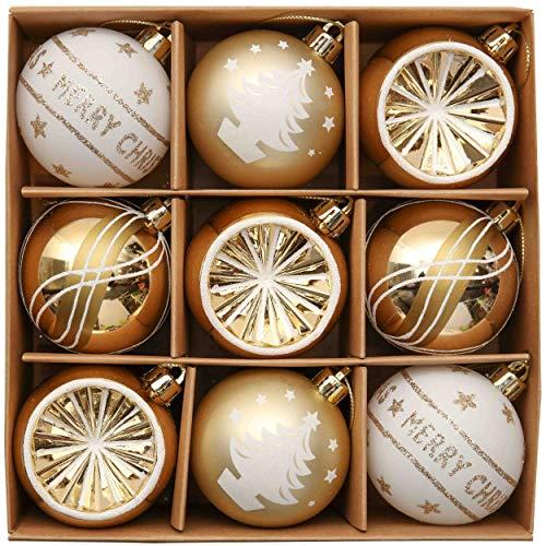Valery Madelyn Weihnachtskugeln 9 Stücke 6CM Kunststoff Christbaumkugeln Weihnachtsdeko mit Aufhänger Baumschmuck für Weihnachtsdekoration Gold Weiß Elegant Thema