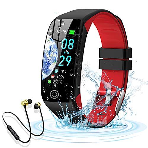 Smartwatch, Reloj Inteligente Impermeable IP68 para Hombre Mujer niños,Pulsera de Actividad Inteligente con 14 Modos de Deporte,con Pulsómetro,Blood Pressure,Sueño,Podómetro,para Android y iOS (Rojo)