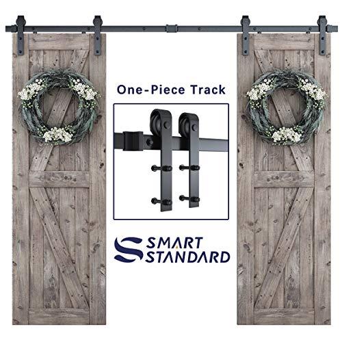 SmartStandard 8ft Heavy Duty Double Door Sliding Barn Door Hardware Kit - Smoothly and Quietly - Easy to Install -Includes Step-by-Step Installation Instruction - Fit 48' Split Door Panel (J Shape)