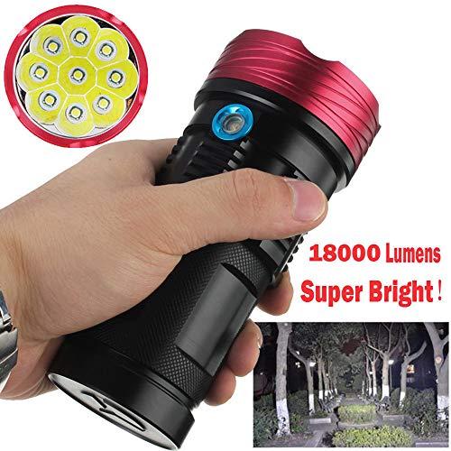 AmyGline LED Taschenlampe T6 Taschenlampe 18000 Lumen 9x XML T6 LED Taschenlampe taktische Taschenlampe Jagdarbeits lampe