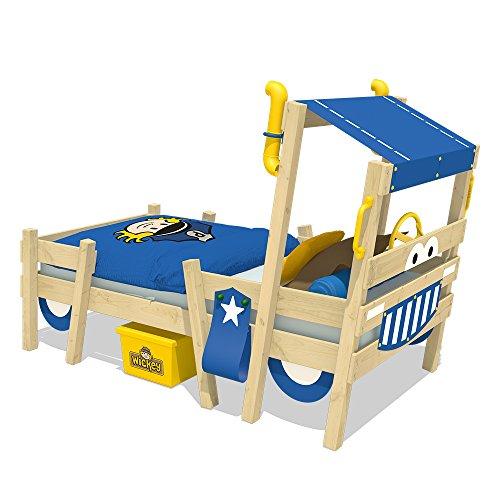 WICKEY Lit enfant 'Crazy Sparky Pro' bleu Lit pour enfant design police - Lit simple en bois massif - 90x200 cm