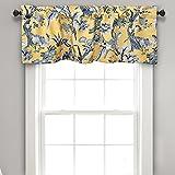 Lush Decor Dolores Valance Bird Floral Print Single Curtain, 18' x 52', Yellow