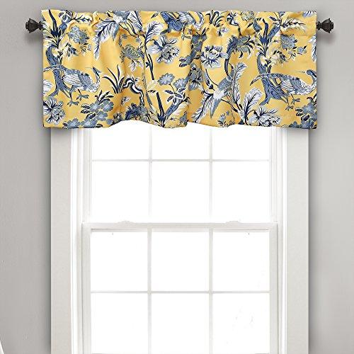 "Lush Decor Dolores Valance Bird Floral Print Single Curtain, 18"" x 52"", Yellow"