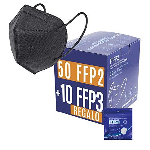 Mascarillas FFP2 + FFP3 Homologadas Certificado CE - Negras. Bolsa individual. PACK PA: 50 FFP2 + 10 FFP3 REGALO