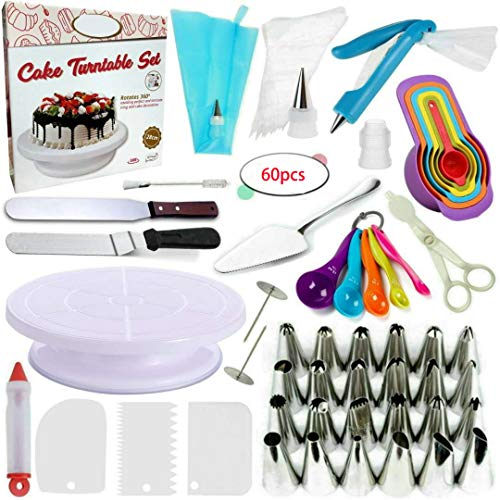 60-Piece Decoración de Pasteles kits insumos - bolsos los pasteles silicona formación...