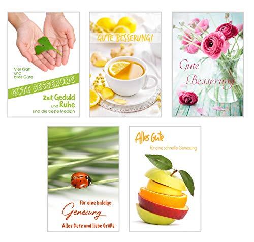 Edition Seidel Set 5 exklusive Premium Genesungskarten Genesungswünsche Gute Besserung Genesung Glückwunschkarte Glückwunschkarten (20572)