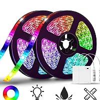 Uonlytech LEDストリップライト2ロール色変更5ボルトフレキシブルライトストリップIP65防水バッテリー駆動ロープライトテレビの背景天井キッチンホームパーティーの装飾(1X2m、1X1m)