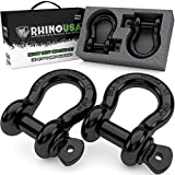 "Rhino USA D Ring Shackle (2 Pack) 41,850lb Break Strength – 3/4"" Shackle with 7/8 Pin for use with Tow Strap, Winch, Off-Road Jeep Truck Vehicle Recovery, Best Offroad Towing Accessories (Gloss)"